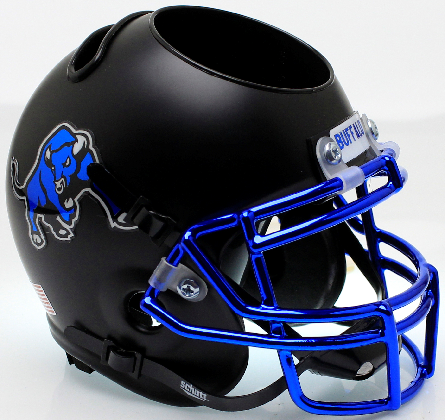 Buffalo Bulls Mini Football Helmet Desk Caddy <B>Matte Black Chrome Mask</B>