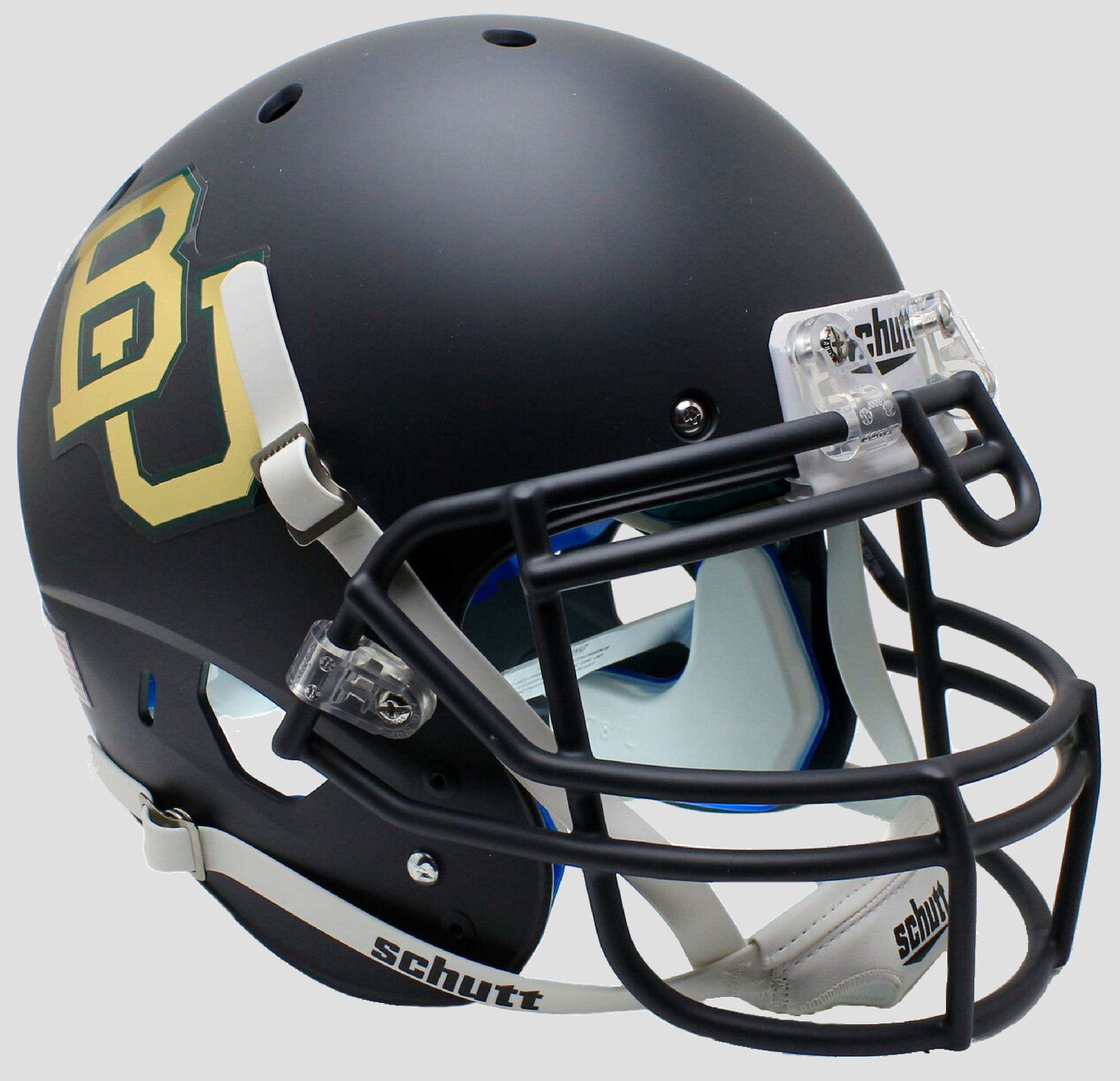 Baylor Bears Authentic College XP Football Helmet Schutt <B>Matte Anthracite Chrome Decal</B>