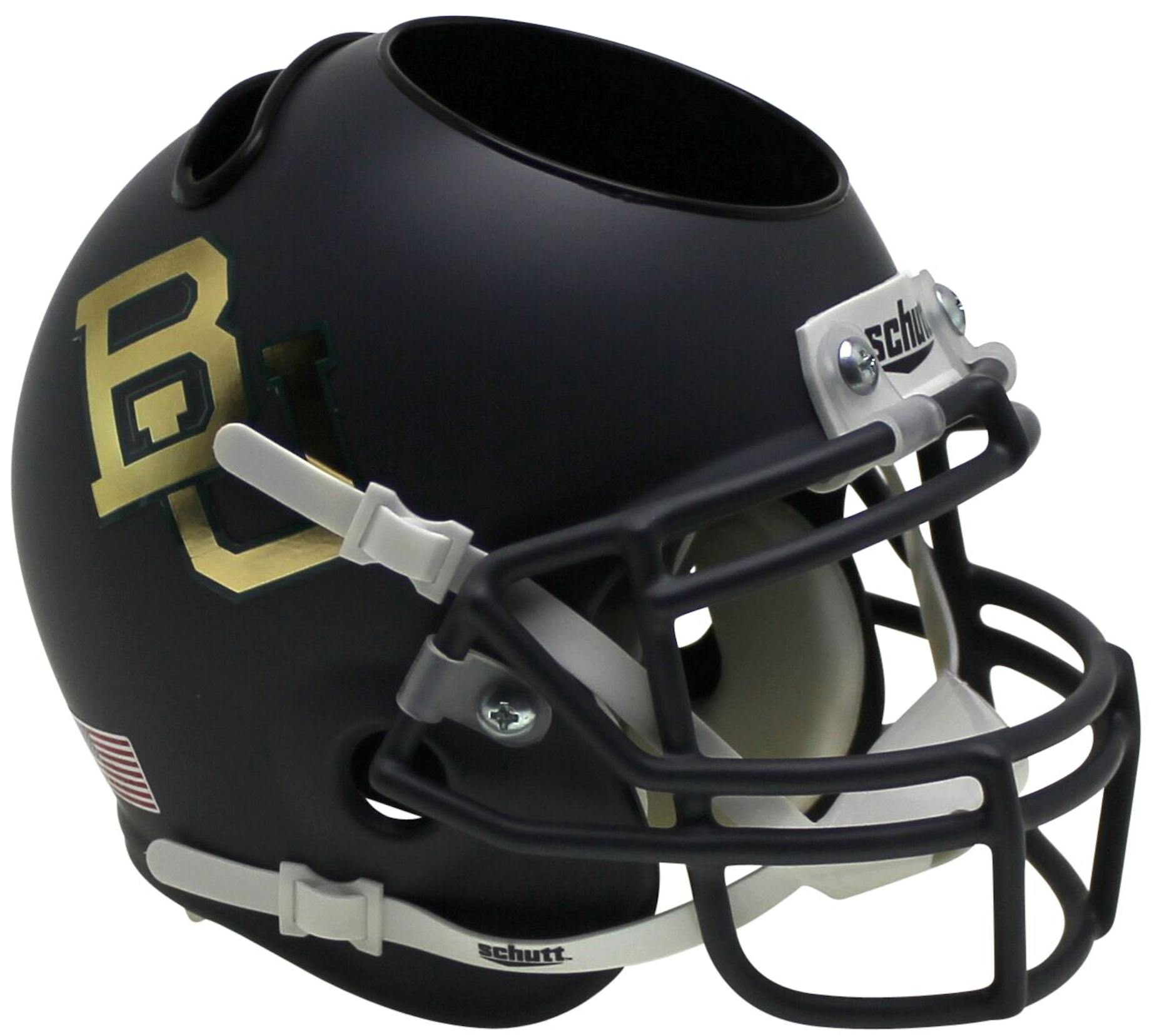 Baylor Bears Miniature Football Helmet Desk Caddy <B>Matte Anthracite Chrome Decal</B>