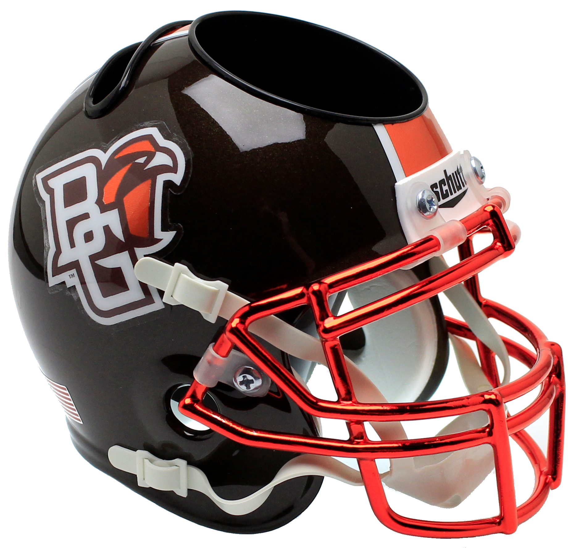 Bowling Green Falcons Miniature Football Helmet Desk Caddy <B>Chrome Mask</B>