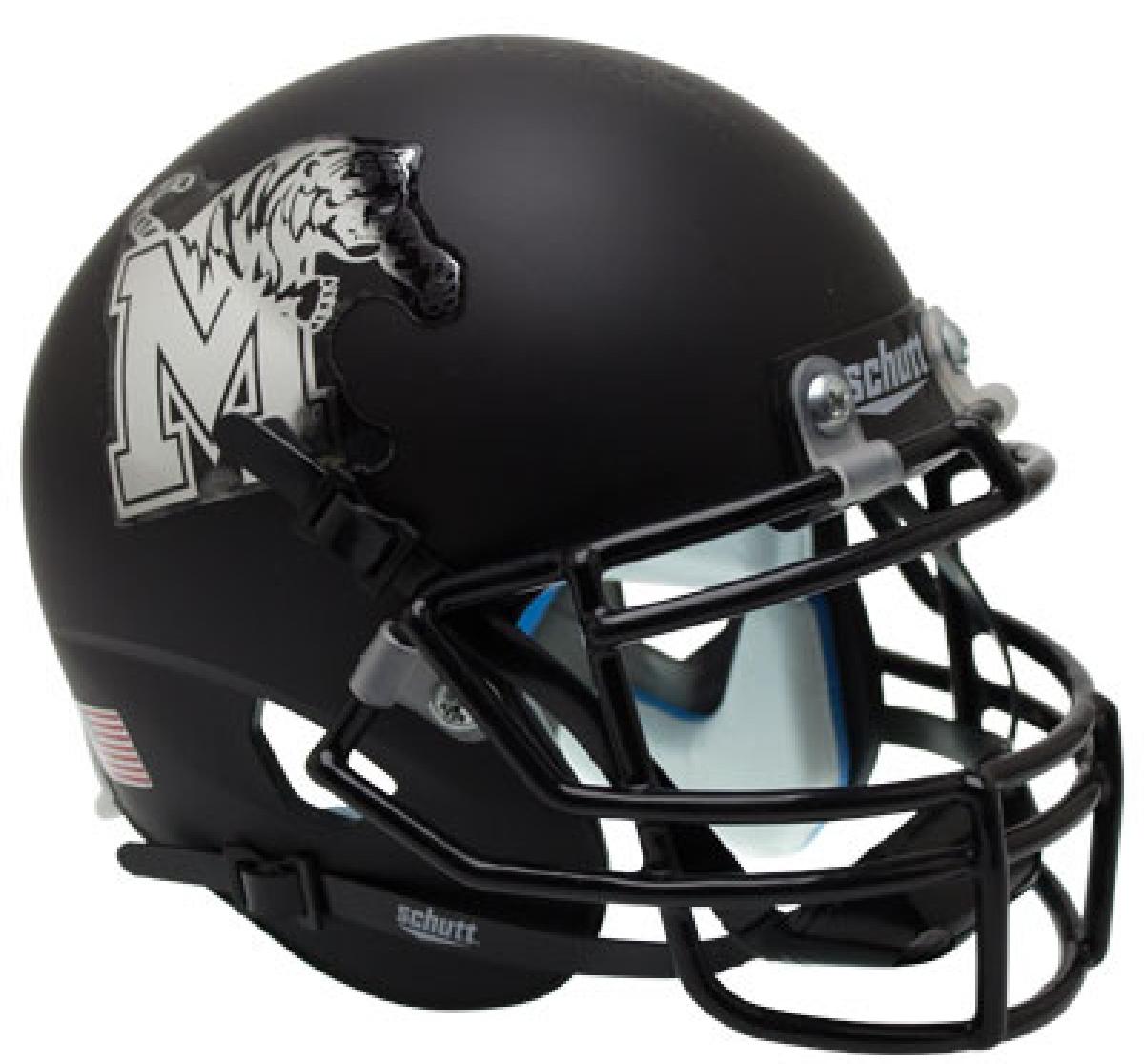 Memphis Tigers Authentic College XP Football Helmet Schutt <B>Matte Black</B>