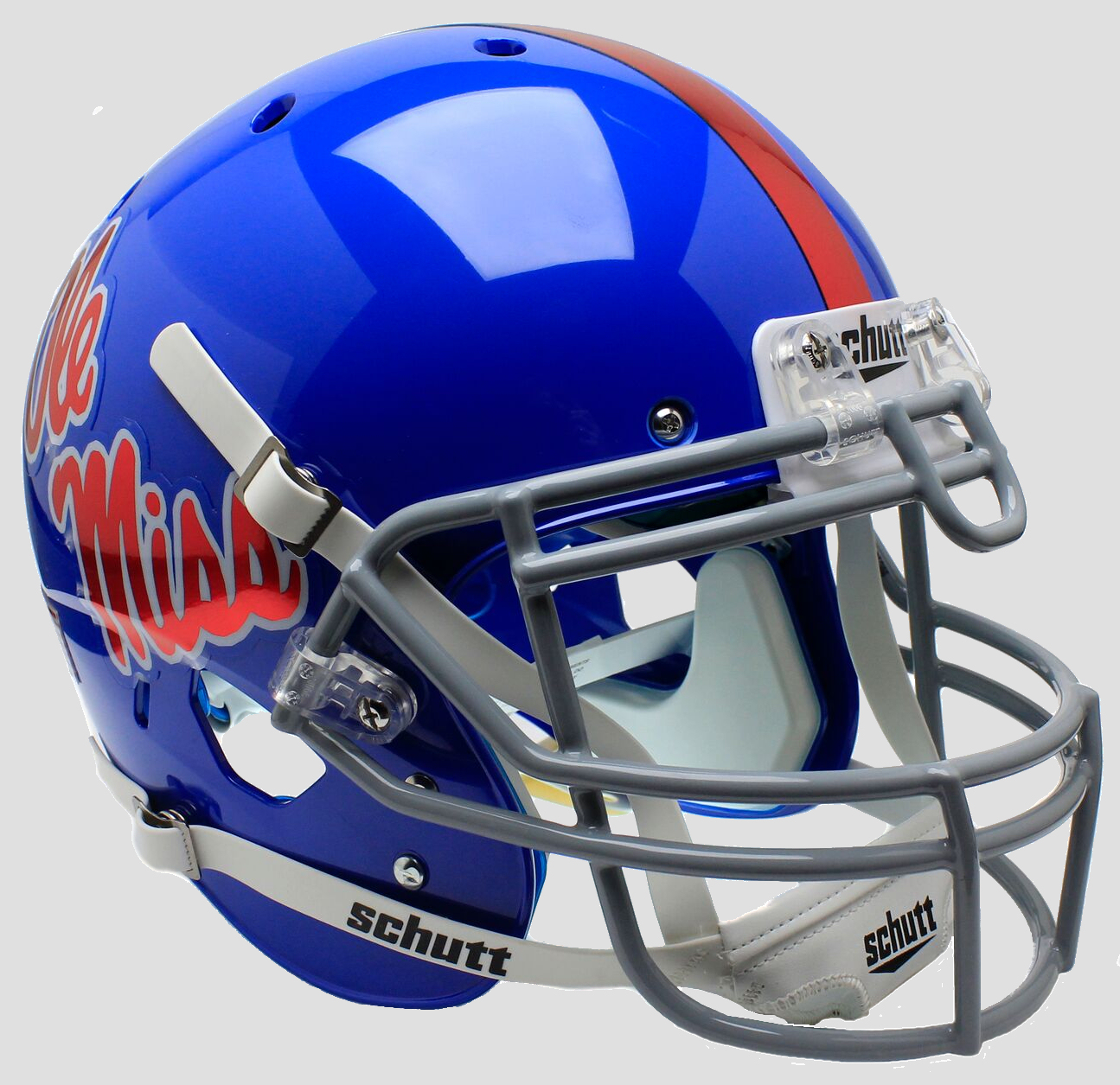Mississippi (Ole Miss) Rebels Authentic College XP Football Helmet Schutt <B>Blue with Chrome Decal</B