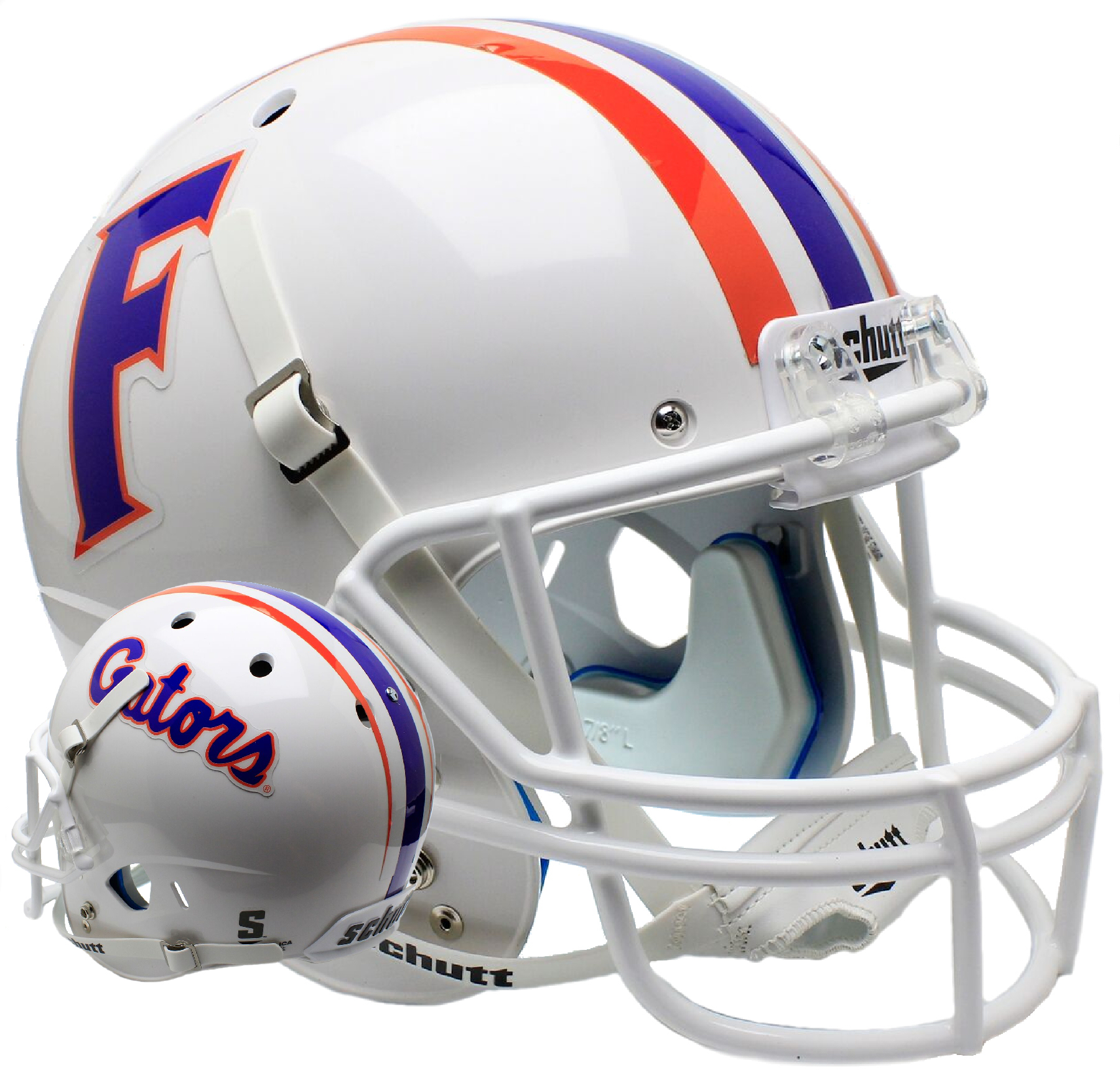 Florida Gators Full XP Replica Football Helmet Schutt <B>White</B>