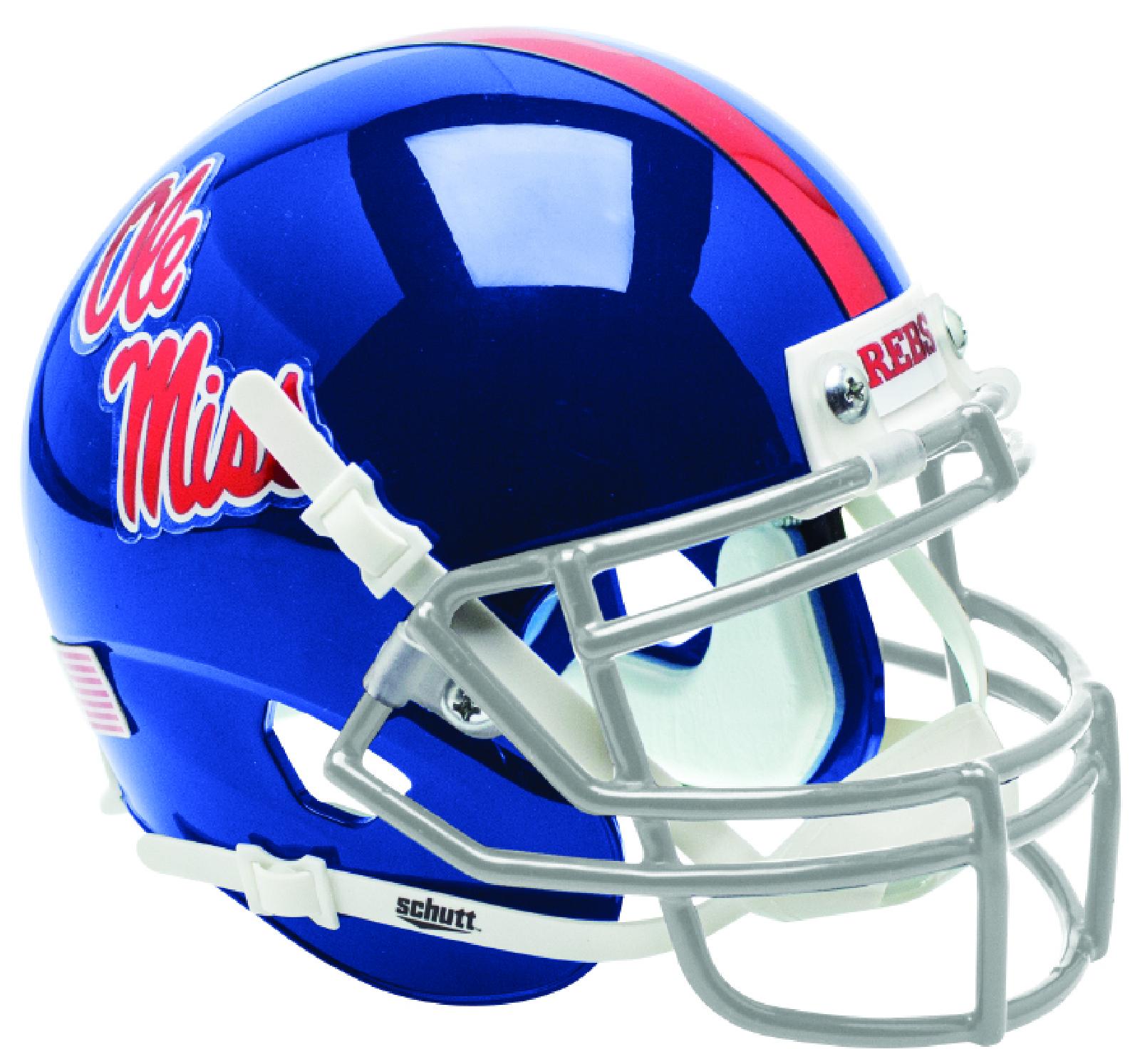 Mississippi (Ole Miss) Rebels Full XP Replica Football Helmet Schutt <B>Blue with Chrome Decal</B>