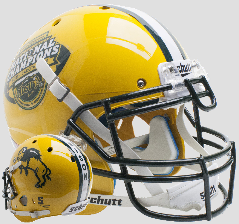 North Dakota State Bison Authentic College XP Football Helmet Schutt <B>Gold National Champs</B>