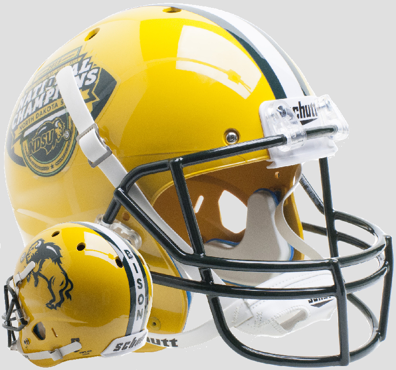 North Dakota State Bison Full XP Replica Football Helmet Schutt <B>Gold National Champs</B>