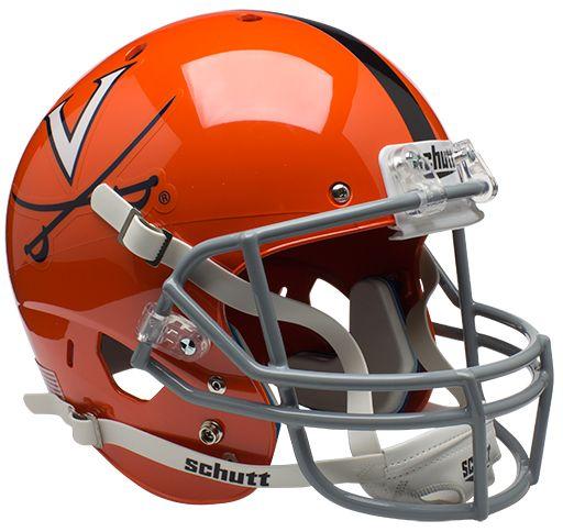 Virginia Cavaliers Full XP Replica Football Helmet Schutt <B>Orange w/Stripe</B>