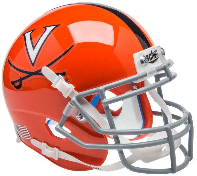 Virginia Cavaliers Mini XP Authentic Helmet Schutt <B>Orange w/Stripe</B>