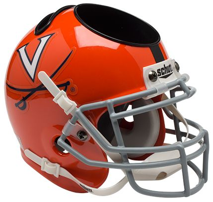 Virginia Cavaliers Miniature Football Helmet Desk Caddy <B>Orange w/Stripe</B>