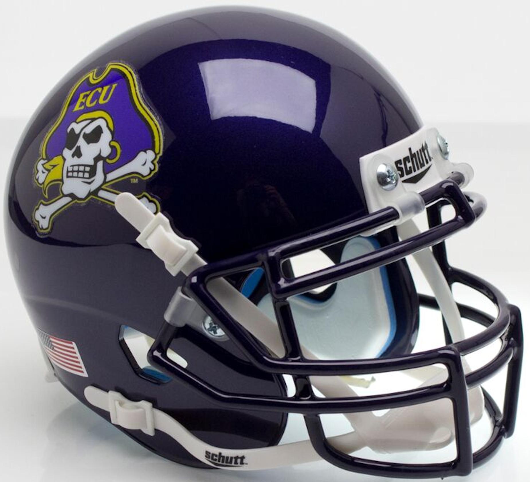 East Carolina Pirates Mini XP Authentic Helmet Schutt <B>Purple Mask ECU on Hat</B>