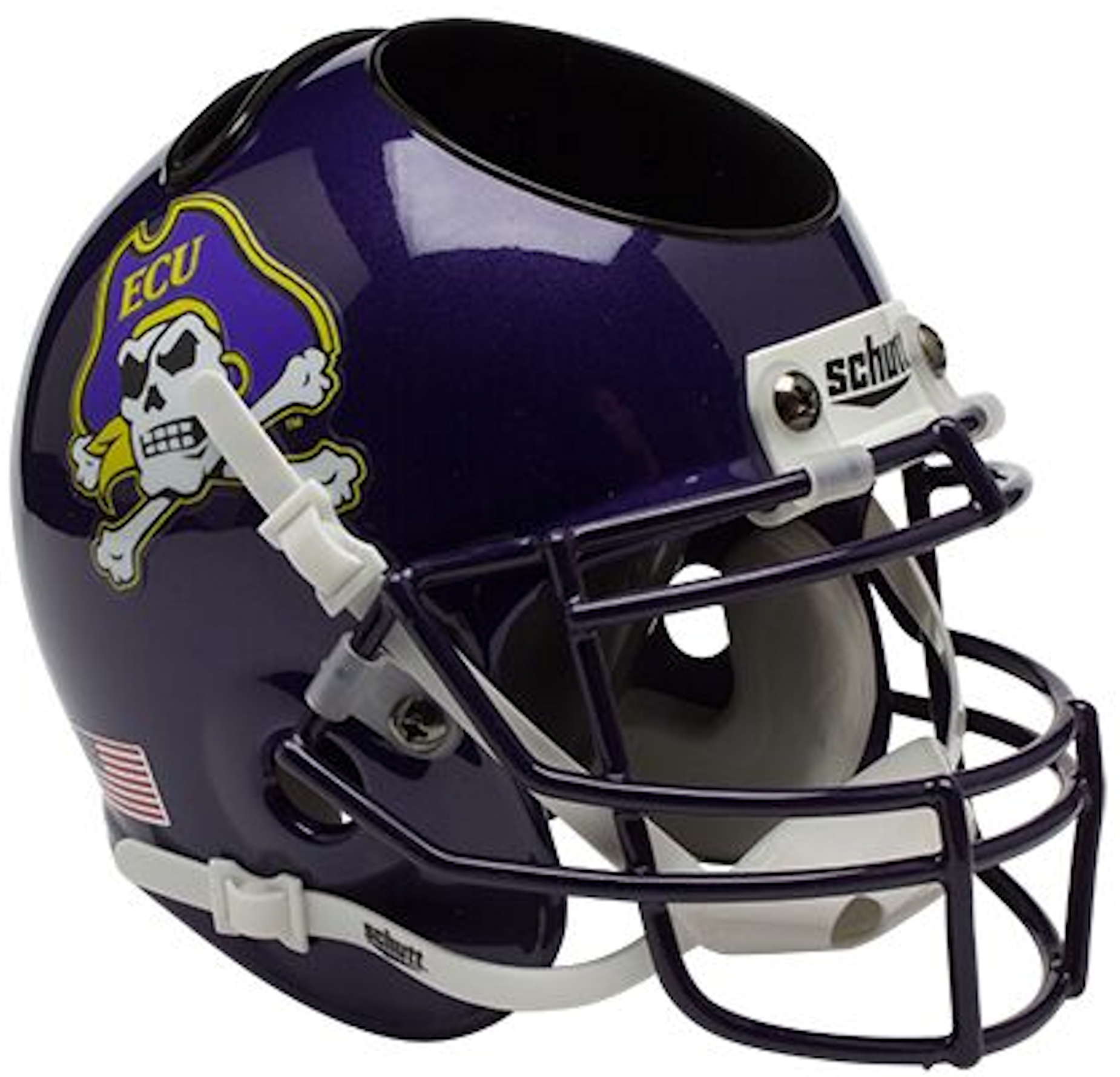 East Carolina Pirates Miniature Football Helmet Desk Caddy <B>Purple Mask</B>