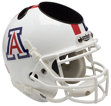Arizona Wildcats Miniature Football Helmet Desk Caddy <B>White with Stripe</B>