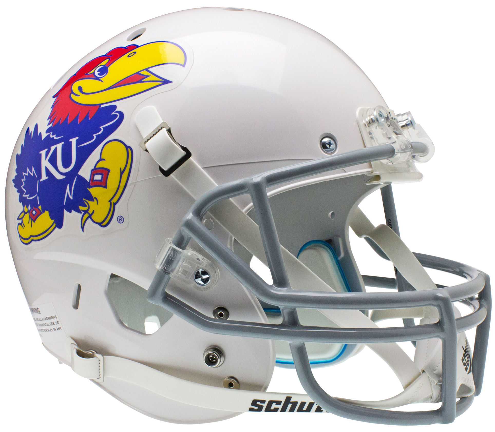 Kansas Jayhawks Full XP Replica Football Helmet Schutt <B>White</B>