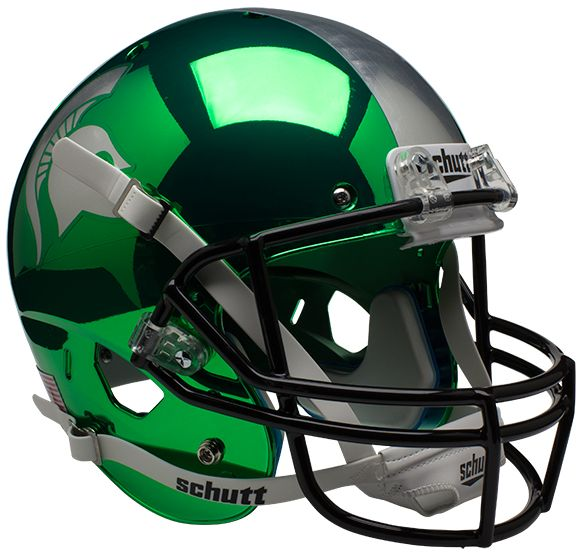 Michigan State Spartans Full XP Replica Football Helmet Schutt <B>Chrome</B>