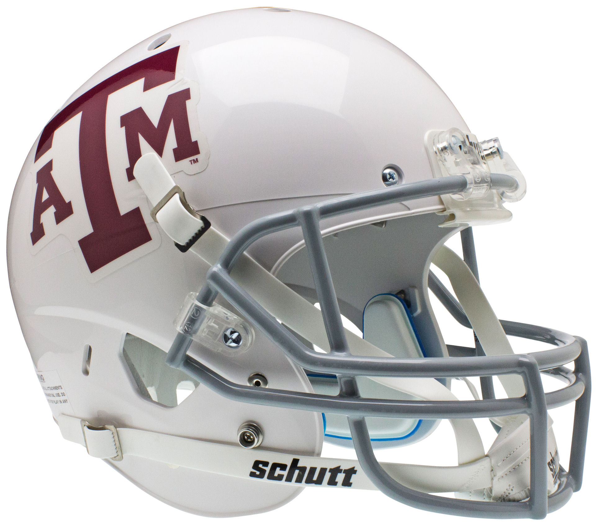 Texas A&M Aggies Full XP Replica Football Helmet Schutt <B>White Gray Mask</B>