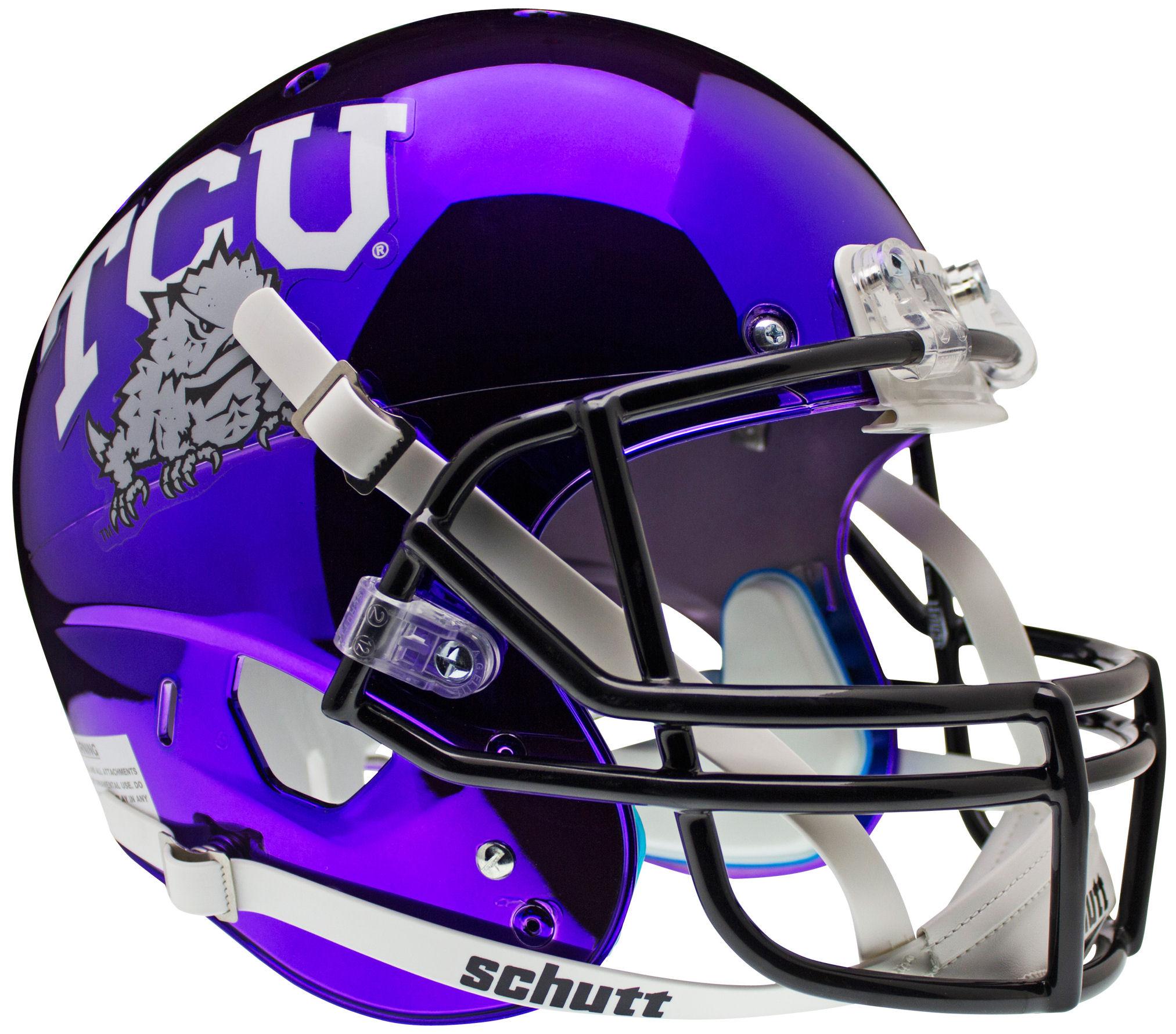 TCU Horned Frogs Full XP Replica Football Helmet Schutt <B>Chrome</B>