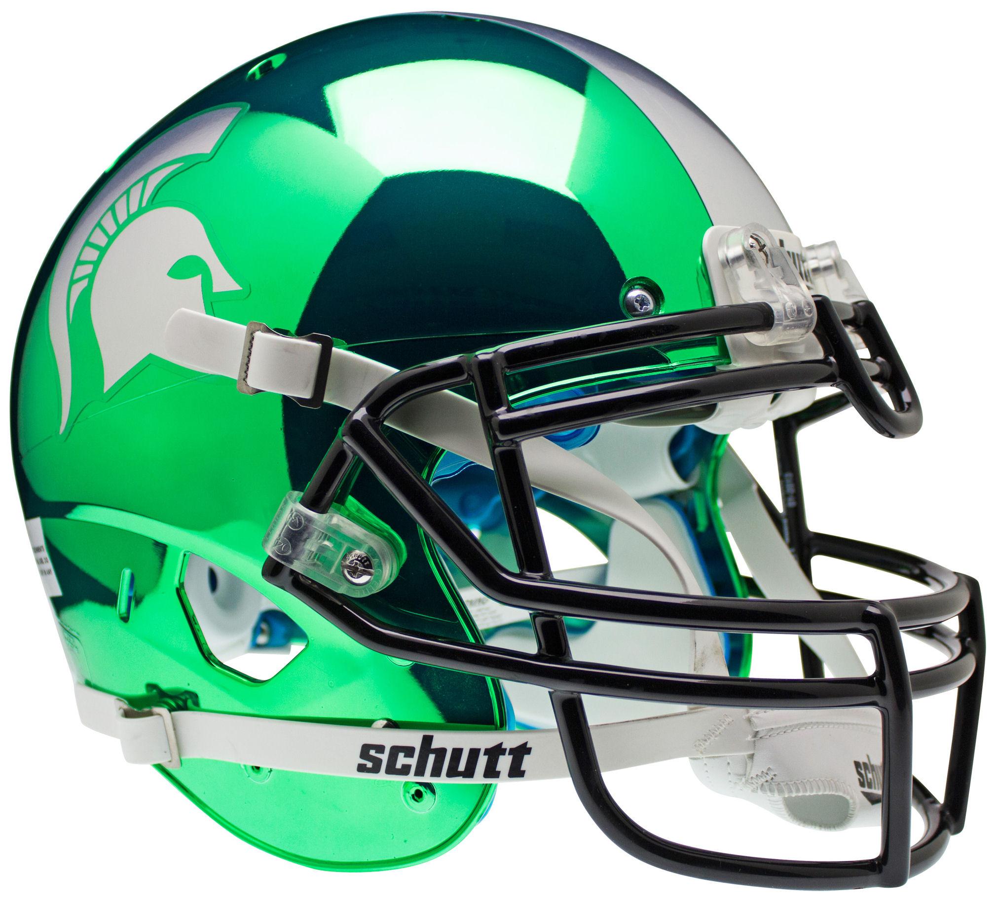 Michigan State Spartans Authentic College XP Football Helmet Schutt <B>Chrome</B>