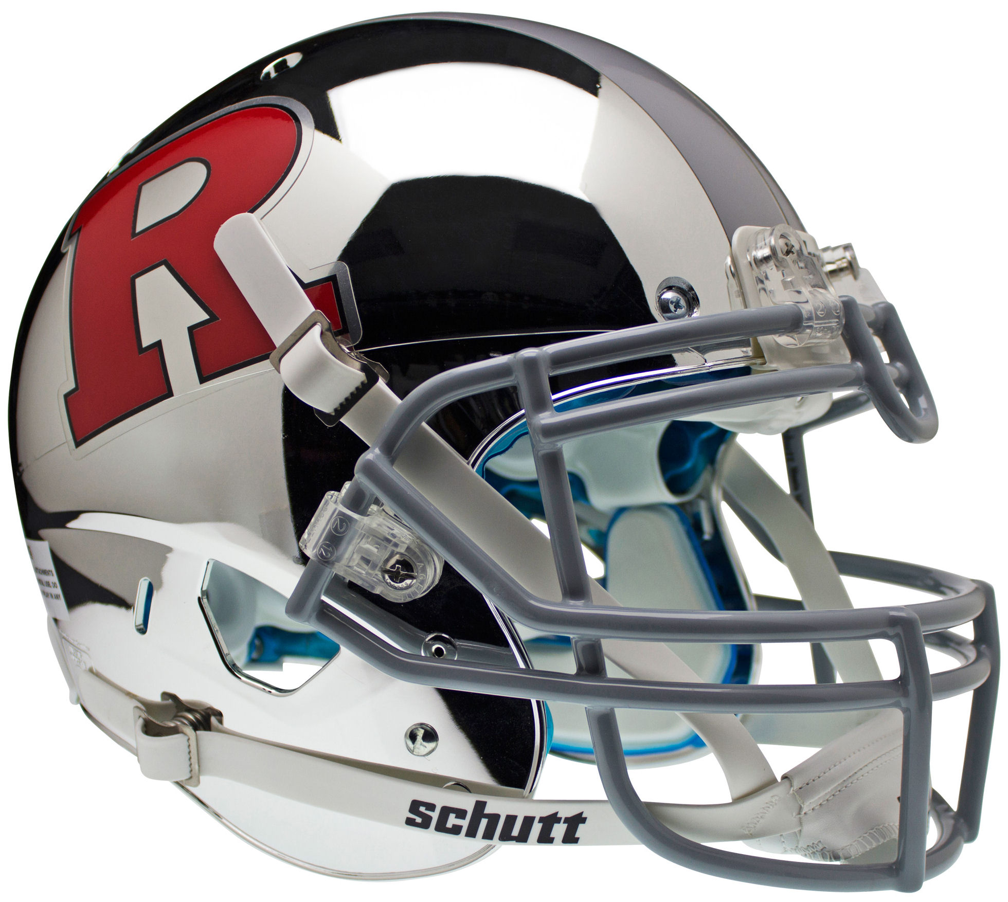 Rutgers Scarlet Knights Authentic College XP Football Helmet Schutt <B>Chrome Red R and Silver Stripe</B>