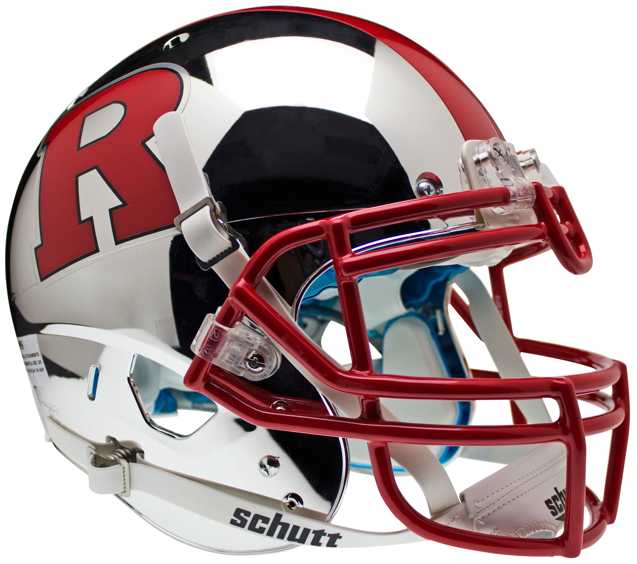 Rutgers Scarlet Knights Authentic College XP Football Helmet Schutt <B>Chrome Red R and Stripe</B>