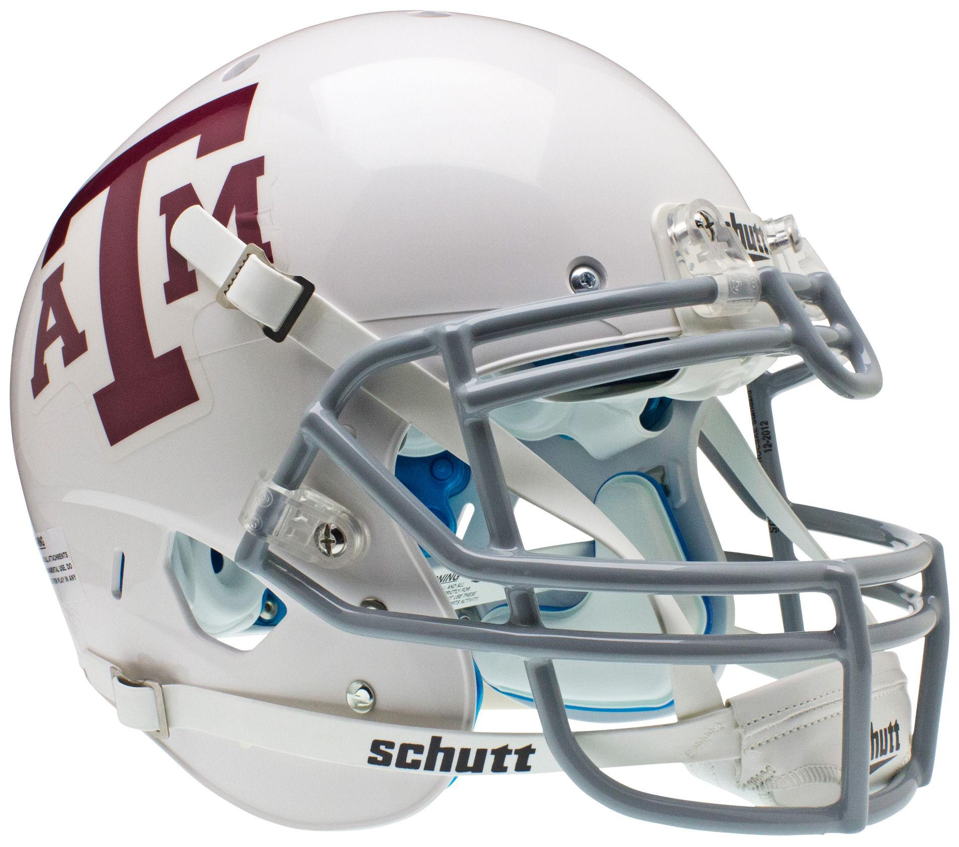 Texas A&M Aggies Authentic College XP Football Helmet Schutt <B>White Gray Mask</B>