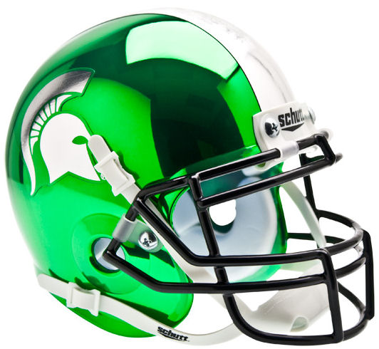 Michigan State Spartans Mini XP Authentic Helmet Schutt <B>Chrome</B>