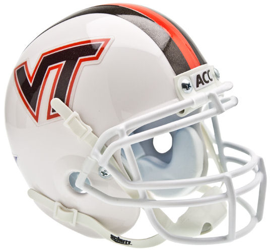 Virginia Tech Hokies Mini XP Authentic Helmet Schutt <B>White w/Stripe</B>