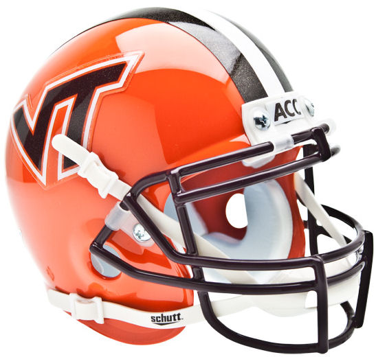Virginia Tech Hokies Mini XP Authentic Helmet Schutt <B>Orange wi/ Stripe</B>