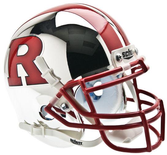 Rutgers Scarlet Knights Mini XP Authentic Helmet Schutt <B>Chrome Red R and Stripe</B>
