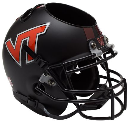 Virginia Tech Hokies Miniature Football Helmet Desk Caddy <B>Matte Black</B>