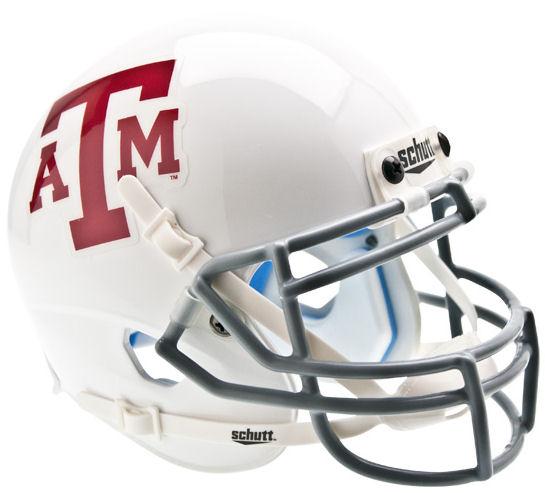 Texas A&M Aggies Mini XP Authentic Helmet Schutt <B>White Gray Mask</B>