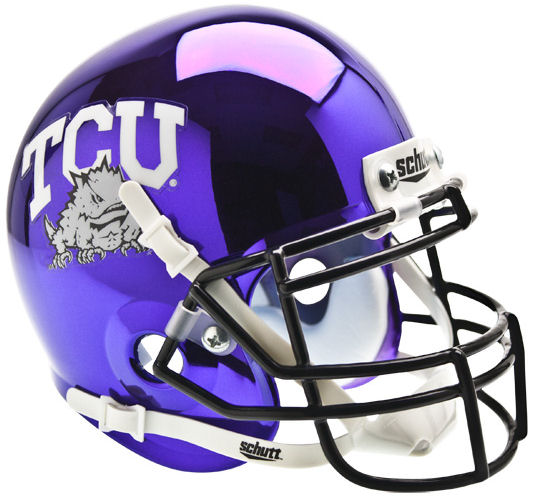 TCU Horned Frogs Mini XP Authentic Helmet Schutt <B>Chrome</B>