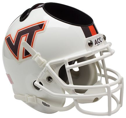 Virginia Tech Hokies Miniature Football Helmet Desk Caddy <B>White w/Stripe</B>