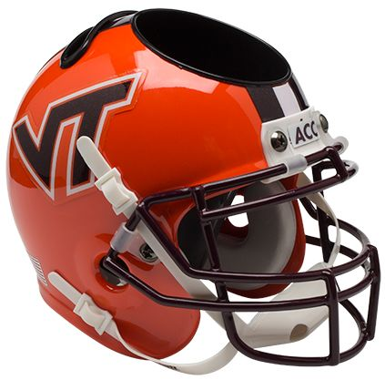 Virginia Tech Hokies Miniature Football Helmet Desk Caddy <B>Orange wi/ Stripe</B>