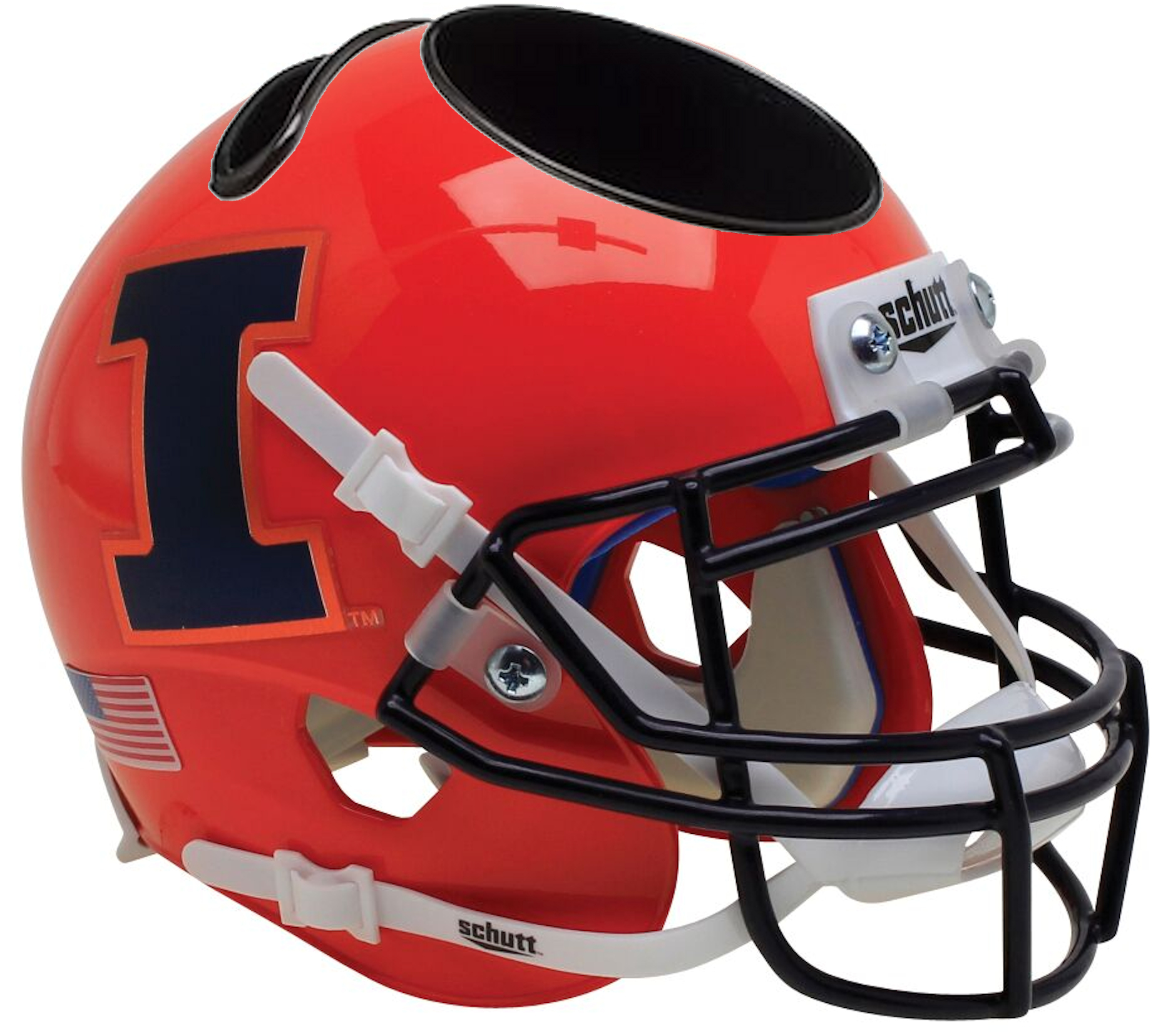 Illinois Fighting Illini Miniature Football Helmet Desk Caddy <B>Orange</B>
