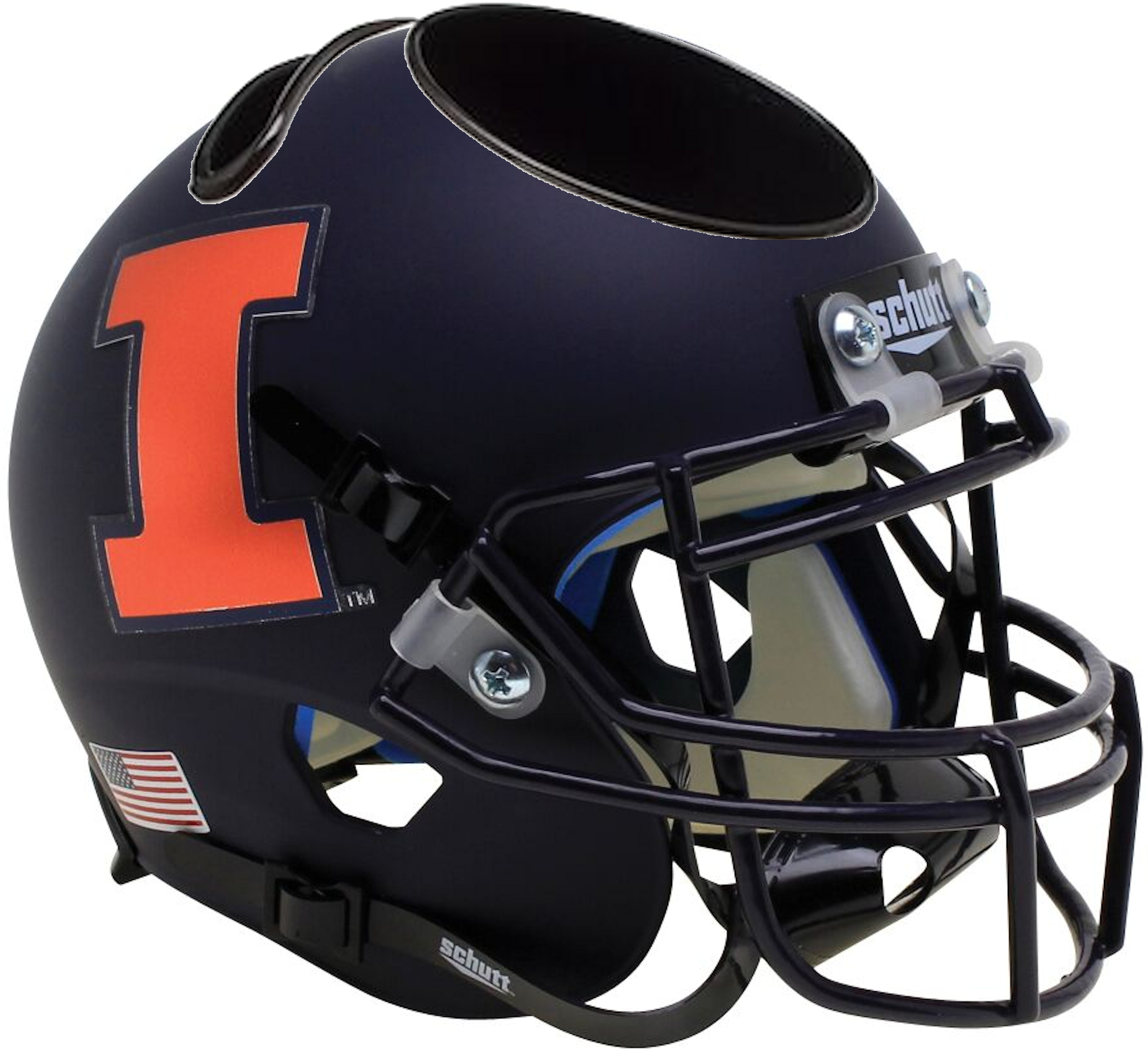 Illinois Fighting Illini Miniature Football Helmet Desk Caddy <B>Matte Black Orange I</B>