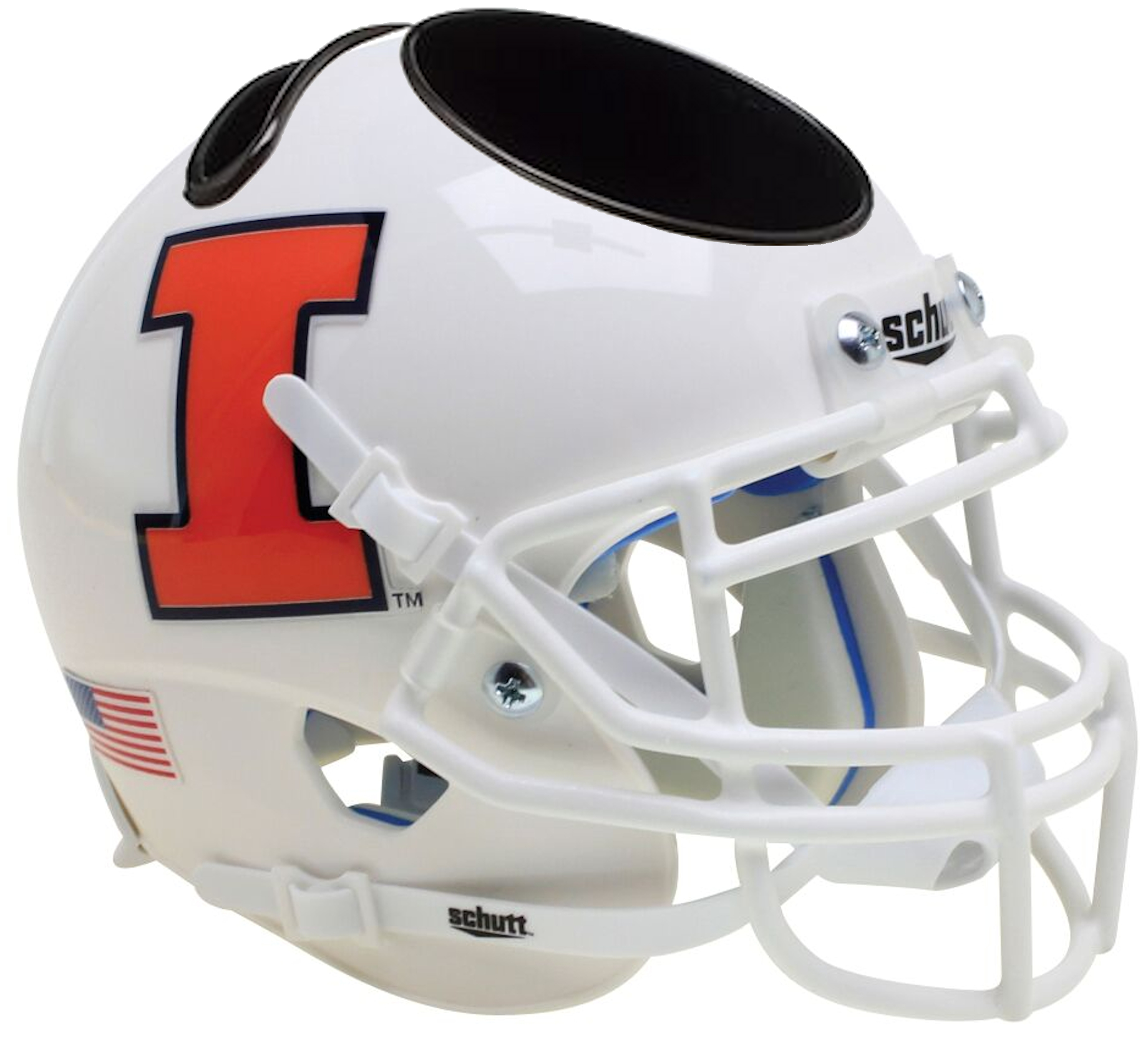 Illinois Fighting Illini Miniature Football Helmet Desk Caddy <B>White</B>