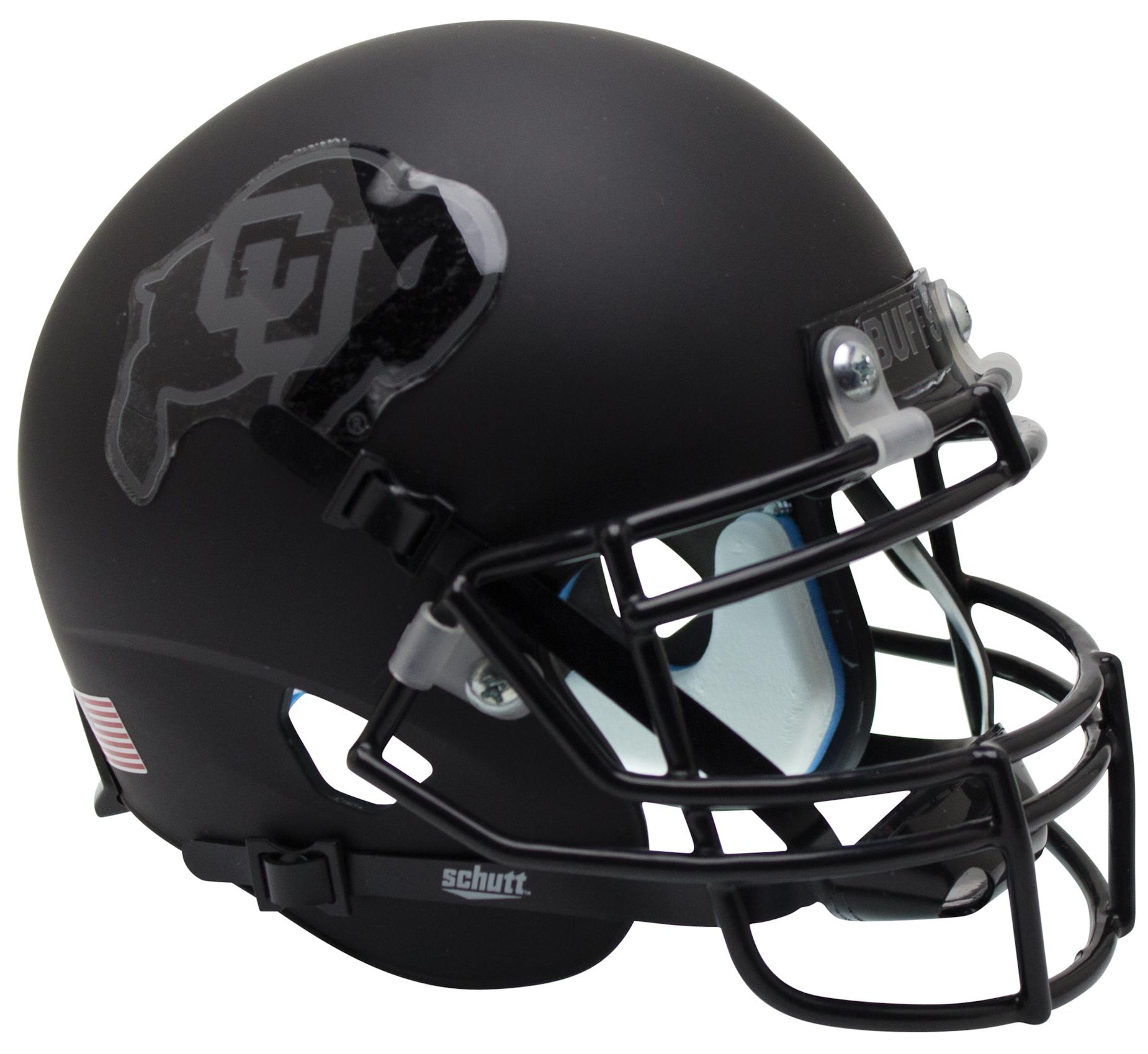Colorado Buffaloes Full XP Replica Football Helmet Schutt <B>Matte Black Gray Outline</B>
