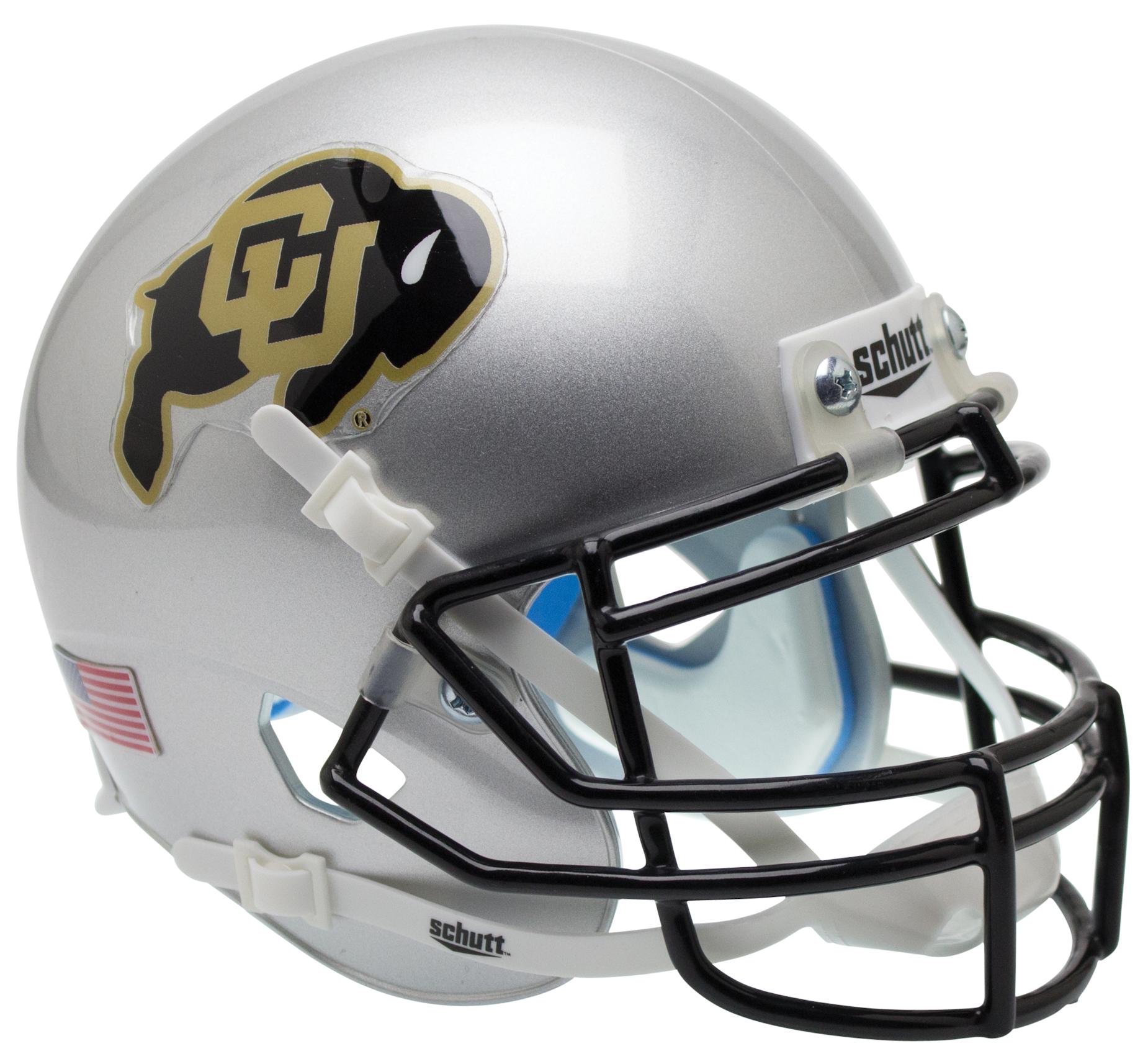 Colorado Buffaloes Full XP Replica Football Helmet Schutt <B>Silver</B>