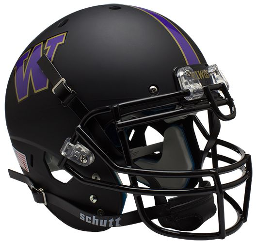 Washington Huskies Authentic College XP Football Helmet Schutt <B>Matte Black</B>