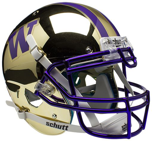 Washington Huskies Authentic College XP Football Helmet Schutt <B>Chrome Gold</B>