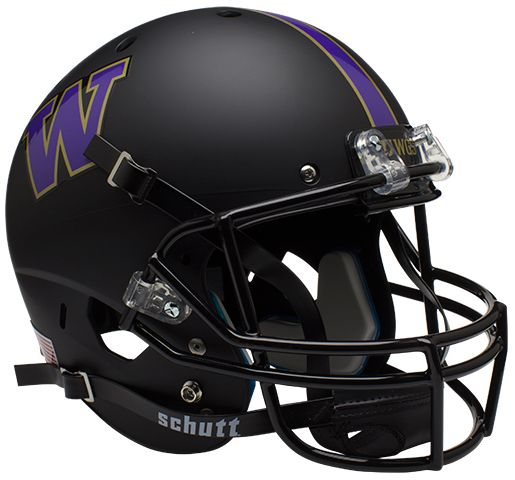 Washington Huskies Full XP Replica Football Helmet Schutt <B>Matte Black</B>