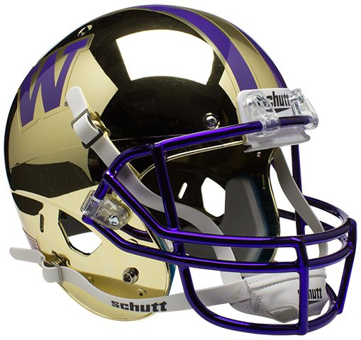 Washington Huskies Full XP Replica Football Helmet Schutt <B>Chrome Gold</B>