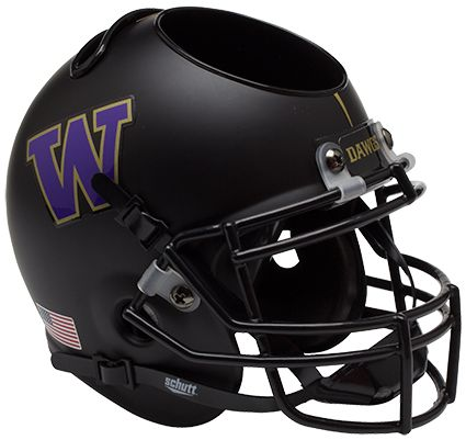 Washington Huskies Miniature Football Helmet Desk Caddy <B>Matte Black</B>
