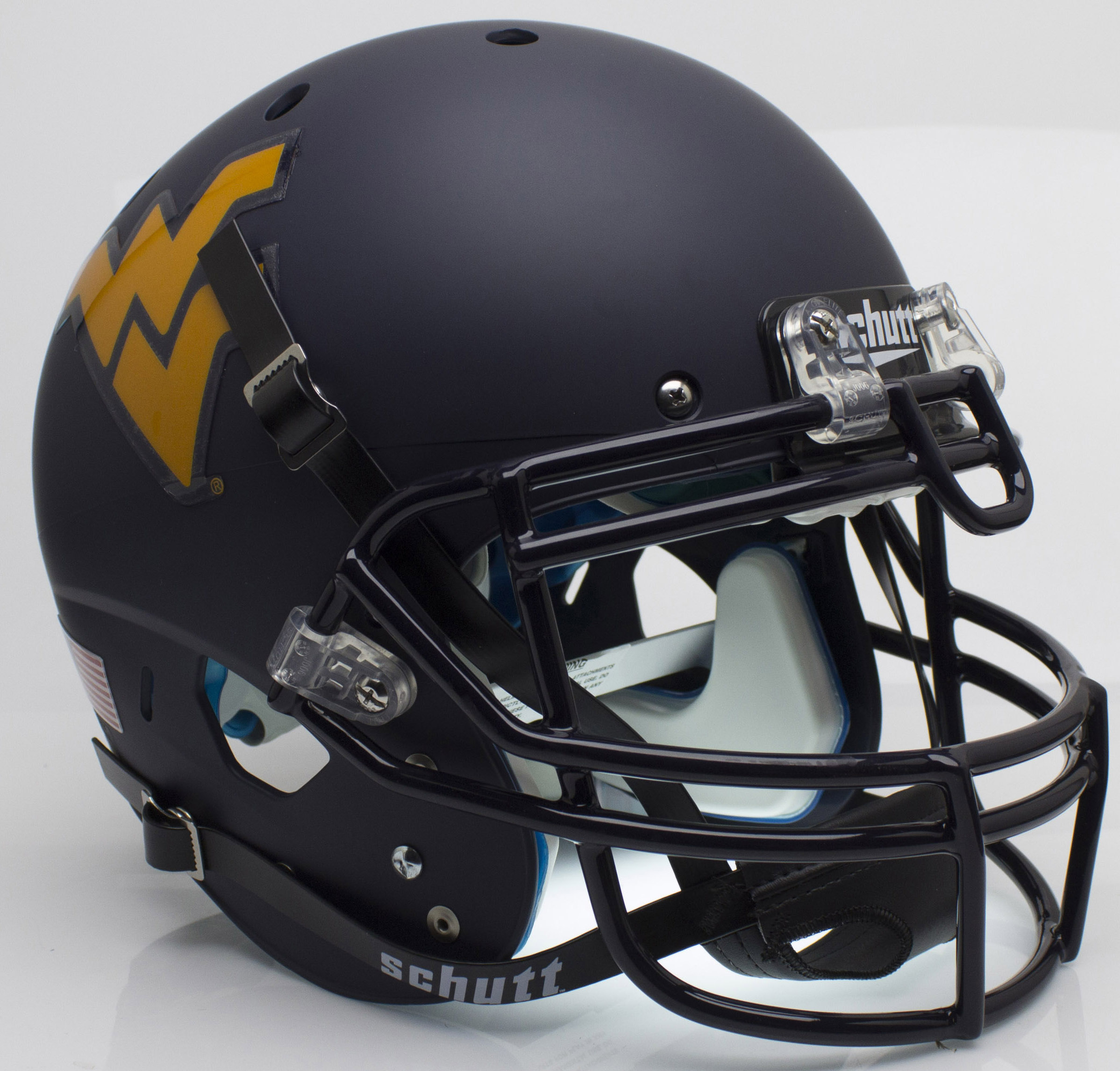 West Virginia Mountaineers Authentic College XP Football Helmet Schutt <B>Matte Navy</B>