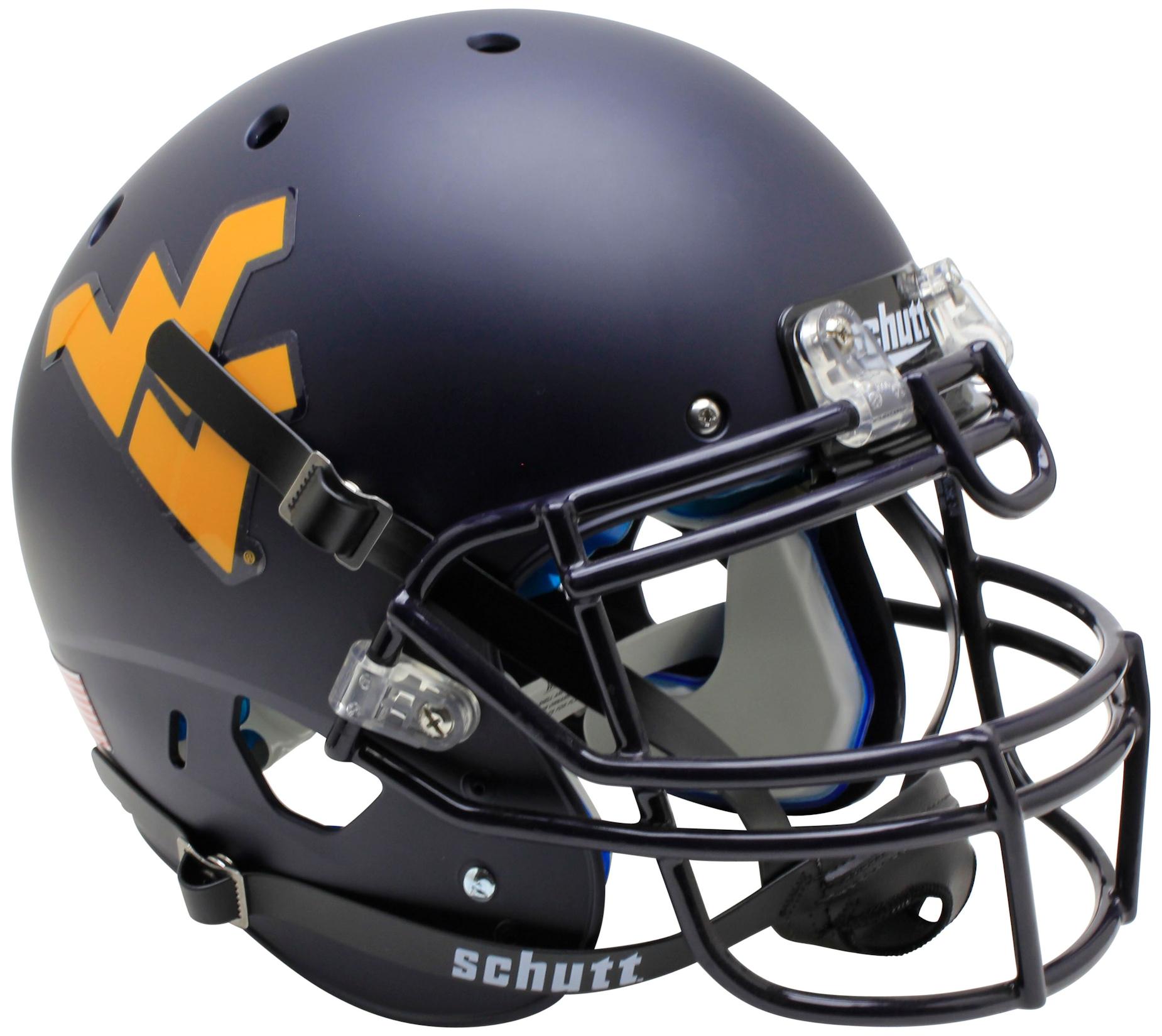 West Virginia Mountaineers Authentic College XP Football Helmet Schutt <B>Country Roads Bumper</B>