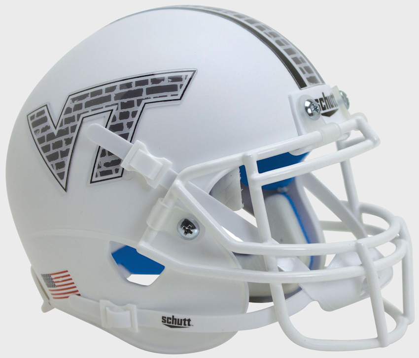 Virginia Tech Hokies Mini XP Authentic Helmet Schutt <B>White Brick</B>