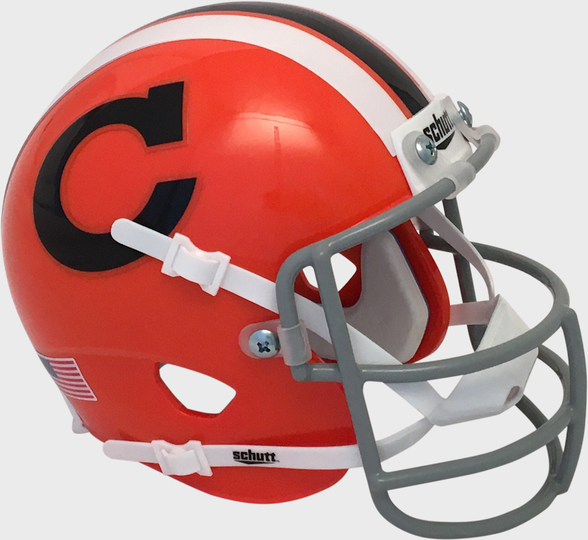 Clemson Tigers 1965 Schutt Mini Authentic Throwback Helmet   Schutt mini football helmets are a perfect addition for any football fan Perfect item for autographs and collectors.  These mini football helmets are finely crafted versions of the actual competition helmets   Mini football helmet with great graphics and team decals   Realistic wire facemask with interior foam padding   Size 6(L), 4(W), 5(H) - (NOT FOR WEARING) SHIPPING UPS