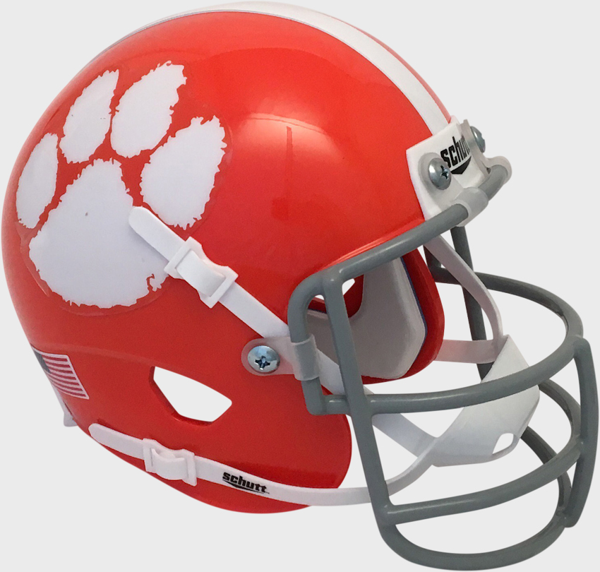 Clemson Tigers 1970 to 1974 Schutt Mini Authentic Throwback Helmet   Schutt mini football helmets are a perfect addition for any football fan Perfect item for autographs and collectors.  These mini football helmets are finely crafted versions of the actual competition helmets   Mini football helmet with great graphics and team decals   Realistic wire facemask with interior foam padding   Size 6(L), 4(W), 5(H) - (NOT FOR WEARING) SHIPPING UPS