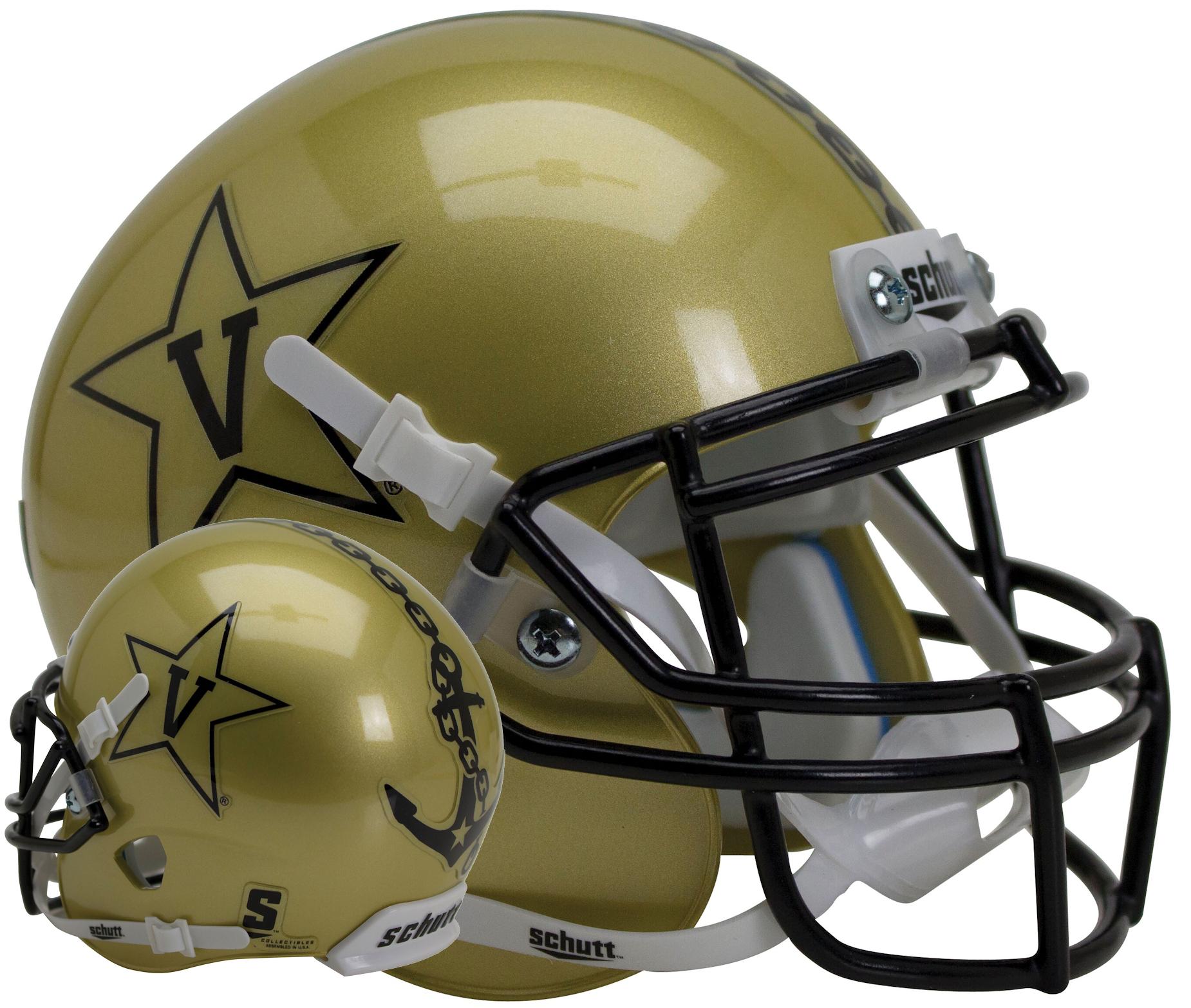 Vanderbilt Commodores Full XP Replica Football Helmet Schutt <B>Gold</B>