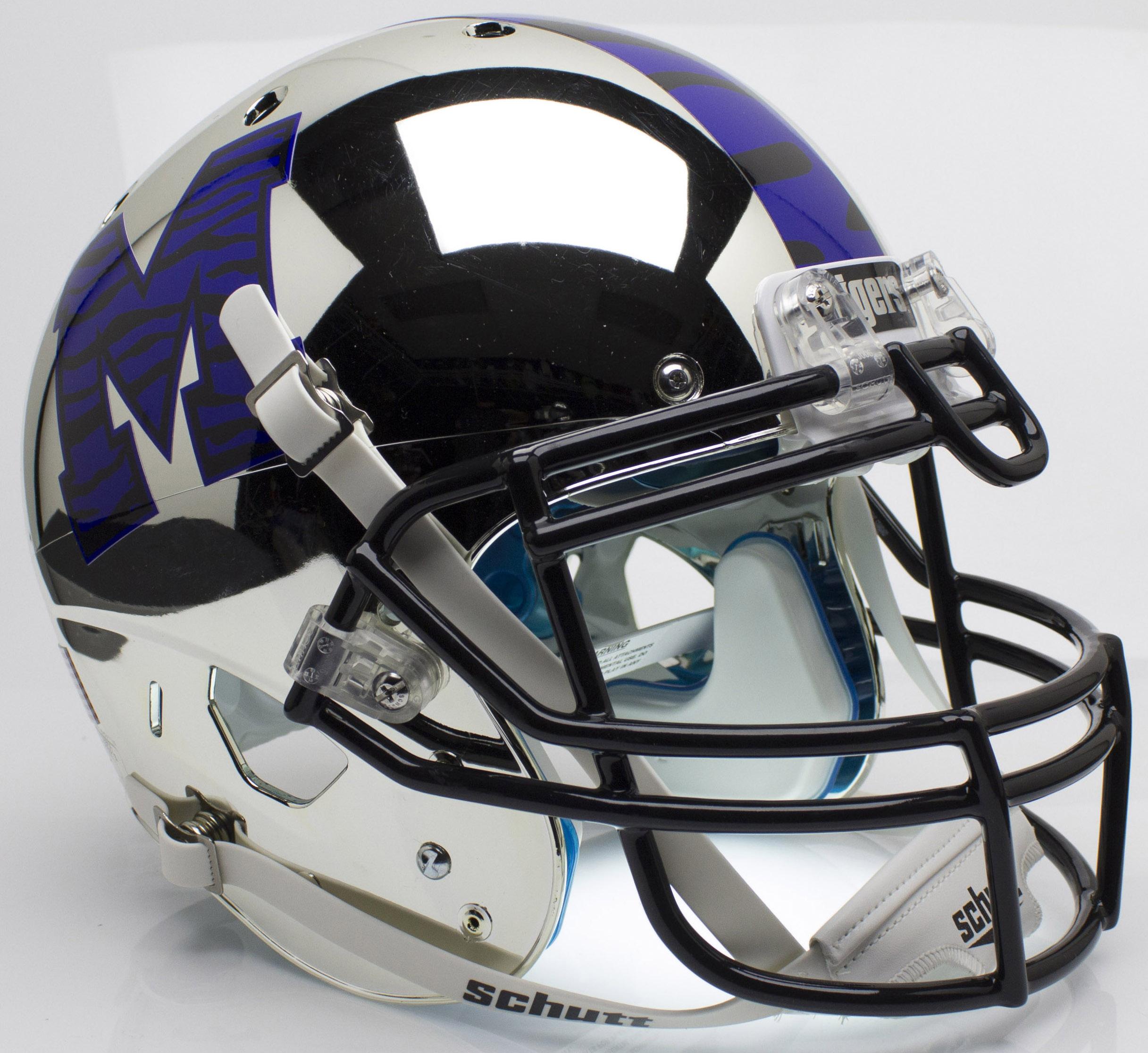 Memphis Tigers Authentic College XP Football Helmet Schutt <B>Chrome</B>